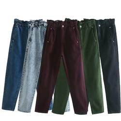 ZA 2020 new 5 colors Toppies autumn Winter cotton Pants Women High Waist Straight Pants solid color Casual trousers streetwear