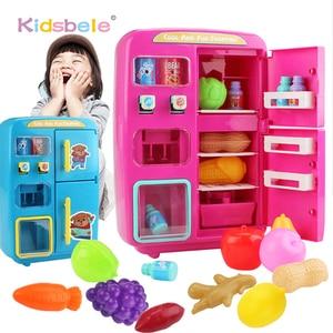 Image 1 - 어린이 척 놀이 장난감 시뮬레이션 더블 냉장고 자동 판매기 완구 어린이 주방 음식 장난감 미니 놀이 집 소녀 완구