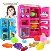 I bambini fanno finta di giocare giocattoli simulazione doppio frigorifero distributore automatico giocattoli cucina per bambini cibo giocattolo Mini Play House giocattoli per ragazze