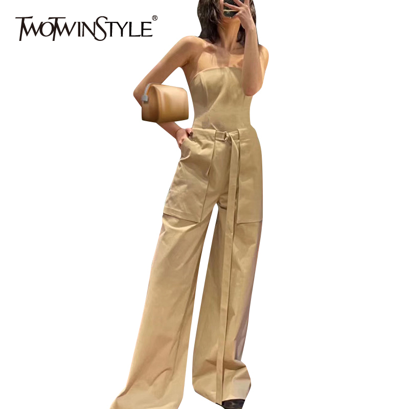 TWOTWINSTYLE Casual Loose Women Jumpsuit Slash Neck Sleeveless Backless High Waist With Sashes Full Length Jumpsuits Female Tide