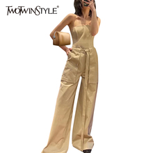 TWOTWINSTYLE Casual Loose Women Jumpsuit Slash Neck Sleeveless Backless High Wai