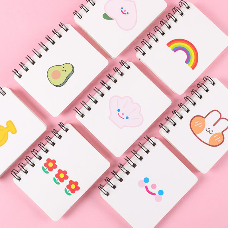 1 Pcs Portable A7 Avocado Rabbit Peach Rainbow Flower Spiral Notebooks Notepad Pocket Diary Planner School Korean Stationery