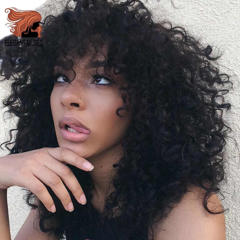 ELEGANT MUSES Synthetic Short Hair Afro Kinky Curly Wig for Women Black Hair High Temperature Fiber Mixed Brown and Blonde Color