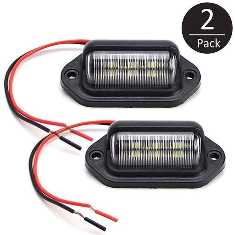 2PCS 6 LED Car LED License Number Plate Light Lamp Tag Interior Step Light Boat Trailer Truck Car License Plate Lighting