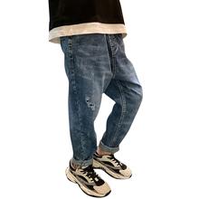 Duzi chłopcy dżinsy z dżinsy z dziurami dla chłopca Casual Style chłopięce spodnie dżinsowe dla dzieci wiosna jesień odzież dla nastoletnich chłopców tanie tanio Honikuyi Na co dzień Pasuje prawda na wymiar weź swój normalny rozmiar 11N0240 Elastyczny pas Stałe REGULAR Medium