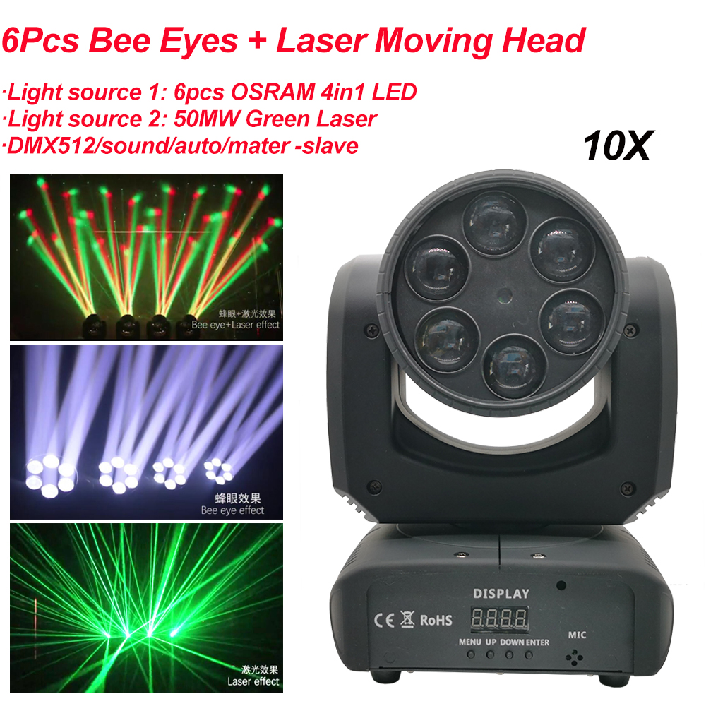 10Pcs/Lot Mini RGBW 4in1 LED 80W 6Pcs Bee Eyes And Laser Moving Head Light LED Strong Beam Lights For Party Disco DJ Lighting