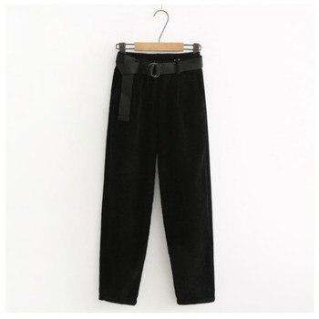 Corduroy Pants Harem Pants Autumn Winter Women Pants Elastic Waist Sashes Casual Black Trousers pantalones mujer cintura alta 3