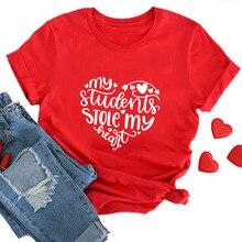 Teacher Valentine Shirt My Students Stole My Heart Teacher Tshirt Casual Short S