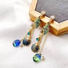 LATS – boucles d'oreilles en forme de coquille de conque pour femmes, bijou coréen en cristal, goutte d'eau, à la mode, 2020