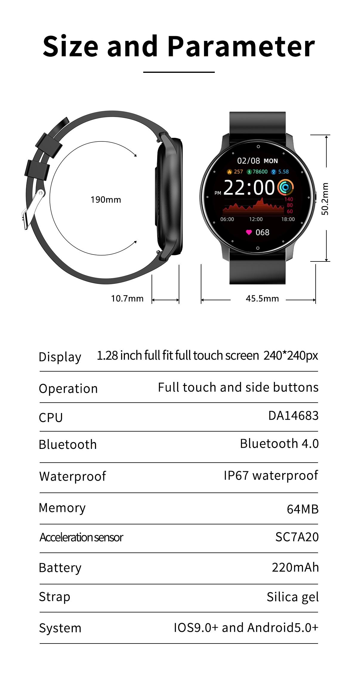 H40bf2e2aada048489ff95b6403aa36a77 LIGE 2021 Fashion Smart Watch Men Fitness Bracelet Heart Rate Blood Pressure Monitoring Sports Tracker Smartwatch Gift for Women