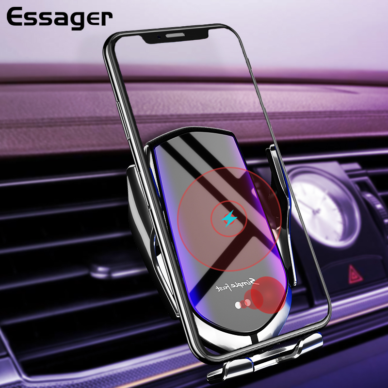 Essager 10W Qi Car Wireless Charger For IPhone 11 Pro Samsung Xiaomi Mi Induction Fast Wireless Charging With Car Phone Holder