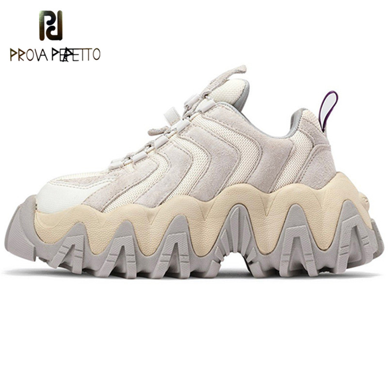 Prova Perfetto Retro Sawtooth Platform Woman Sneakers Casual Novelty Stripe Colour Mixture Sneakers Thick Bottom Shoes Female