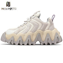 Prova Perfetto Sneakers Women Sawtooth Platform Woman Sneakers Novelty Stripe Colour Mixture Sneakers Thick Bottom Shoes Female
