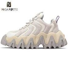 Prova Perfetto Sneakers kadın testere dişi platformu kadın ayakkabı yenilik şerit renk karışımı ayakkabı kalın alt ayakkabı kadın