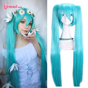 L-email wig VOCALOID Hatsune Cosplay Wigs Miku Light Blue Long Straight Ponytails Cosplay Wigs Heat Resistant Synthetic Hair(China)
