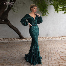 Женское вечернее платье verngo блестящее с длинным рукавом и