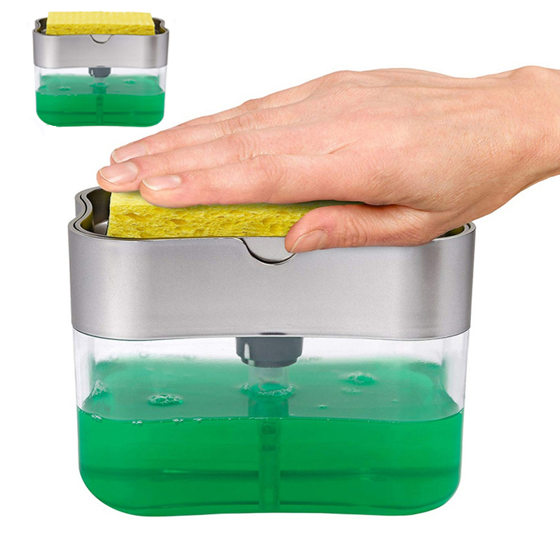 Soap Dispenser Soap Pump Sponge Caddy New Creative Kitchen 2-in-1 Manual Press Liquid Soap Dispenser