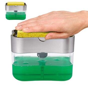 Soap Dispenser Soap Pump Sponge Caddy New Creative Kitchen 2-in-1 Manual Press Liquid Soap Dispenser
