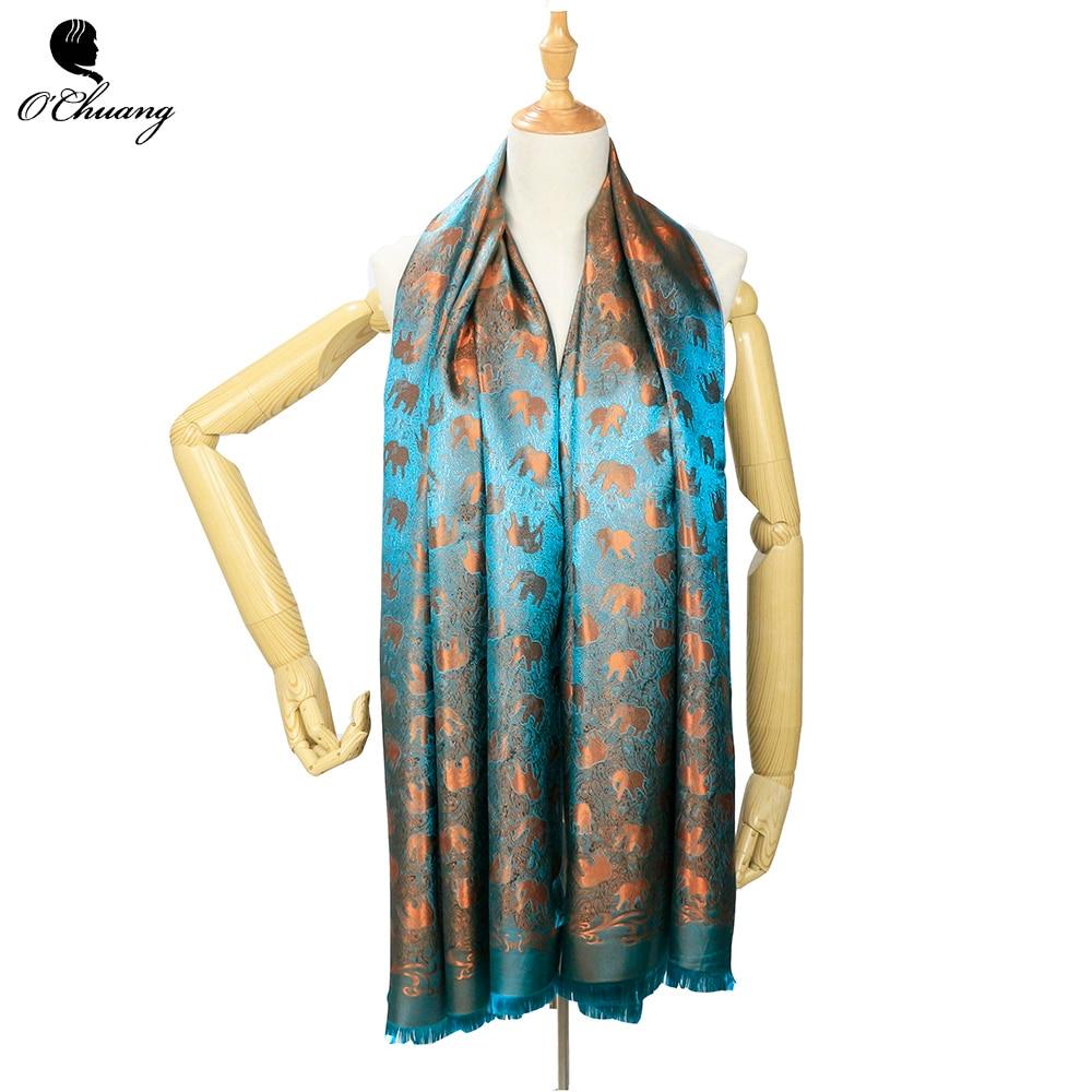 O CHUANG Silk Scarf Women Luxury Brand Cartoon Elephant Long Shawls And Wraps Pashmina Scarves Foulard Soie 180*70CM