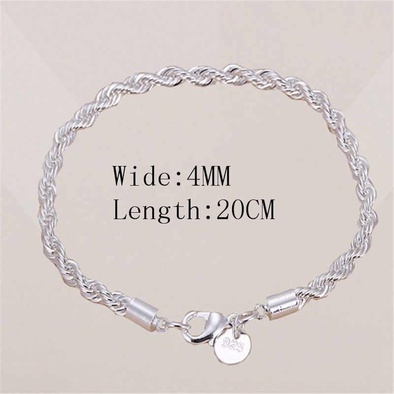 Европейская и американская Горячая продажа серебро новая простота 4 мм крученая цепочка браслеты из металлического сплава ретро индивидуальные браслеты для влюбленных оптовая продажа от производителя