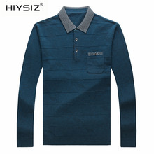 HIYSIZ Sweaters Men 2019 Brand Solid Striped with Pocket Fashion Trend Turn-down Collar Autumn Winter Long Pullover SW012