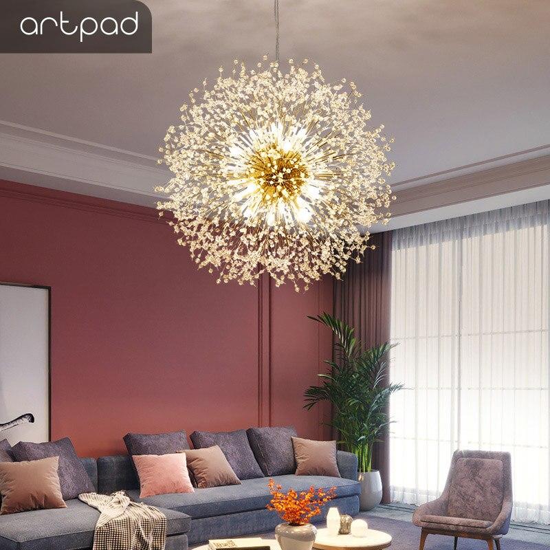 Artpad Nordic Decorative Light Beauty Dandelion Design Crystal Led G9 Pendant Hanging Lamp Cloth Store Suspension Pendant Light