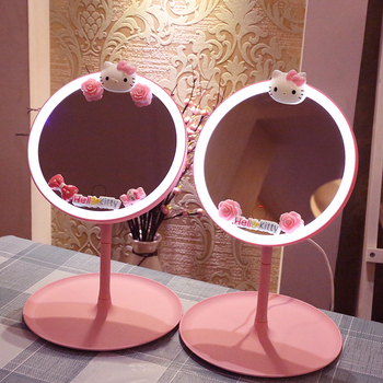 Pink KT CAT Lovely Makeup backlit mirror light With Natural White LED Daylight vanity mirror Detachable/Storage Base Girl gifts