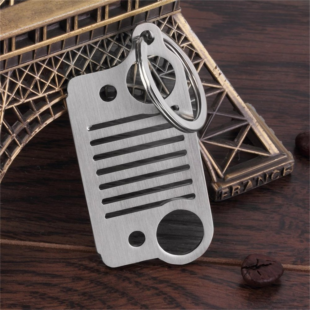 High Quality Stainless Steel Grill Key Chain KeyChain For Jeep Grill Key Ring CJ JK TJ YJ XJ New Dropping Shipping