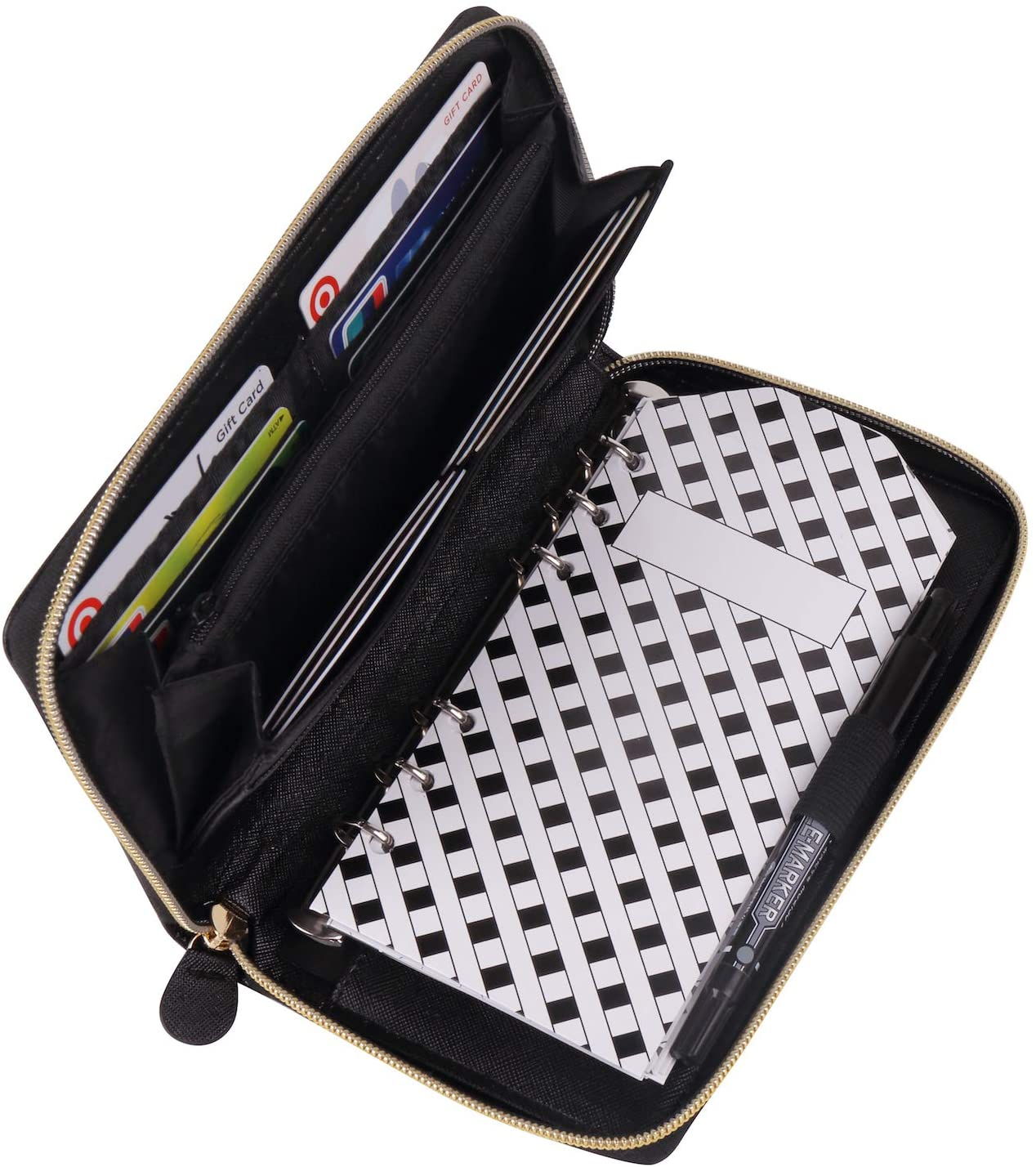 Cash Envelope Wallet All in One Budget System with 12x Tabbed Cash Envelopes 12x Monthly Budget Cards 1x Yearly Budget Planner