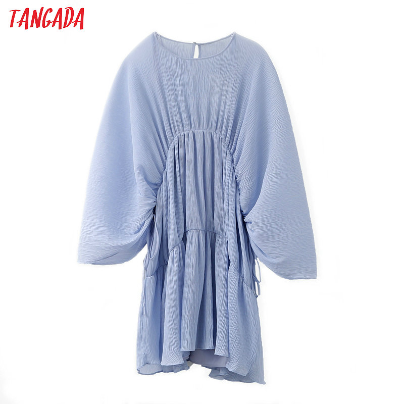 Tangada Fashion Women Solid Blue Pleated Loose Dress Long Sleeve Strethy Waist Ladies Casual Mini Dress Vestidos JE65