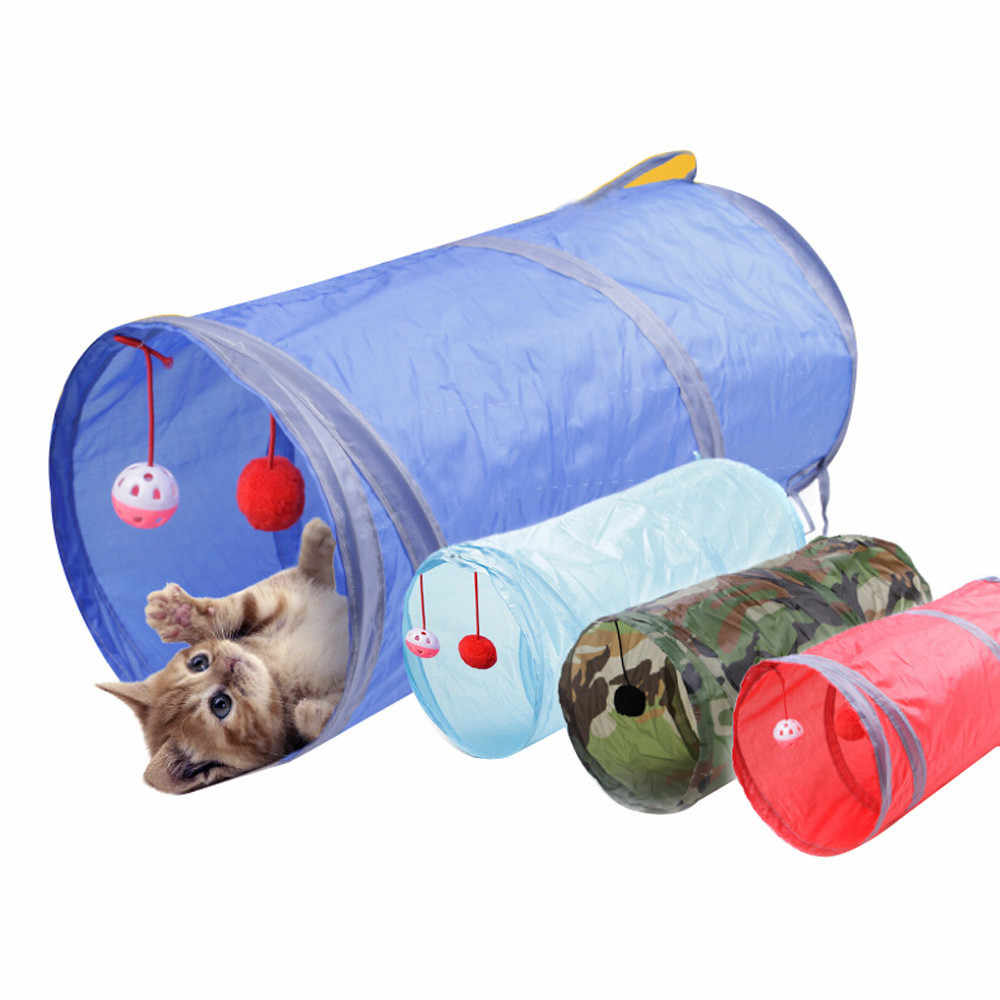 재미 있은 애완 동물 고양이 터널 2 구멍 놀이 튜브 공 접을 수있는 crinkle 새끼 고양이 장난감 강아지 흰 족제비 토끼 놀이 개 터널 튜브 #38