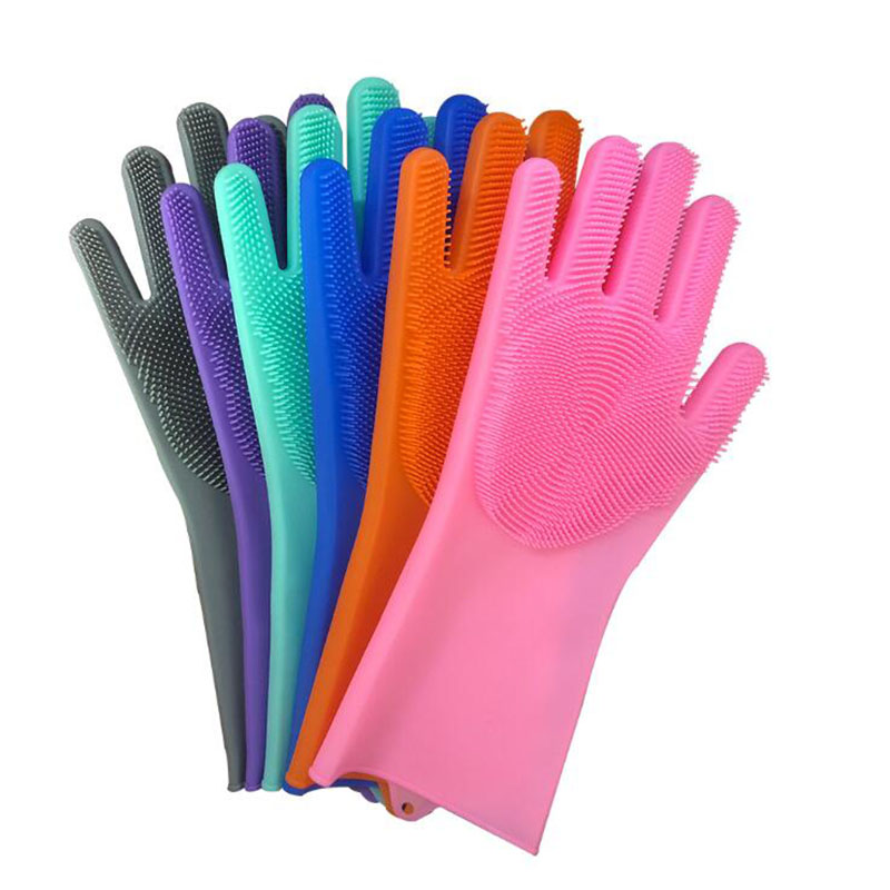1 Pair Pet Silicone Cleaning Gloves Dog Cat Bath Cleaning Brush Gloves Scrubber Rubber Kitchen Clean Tool