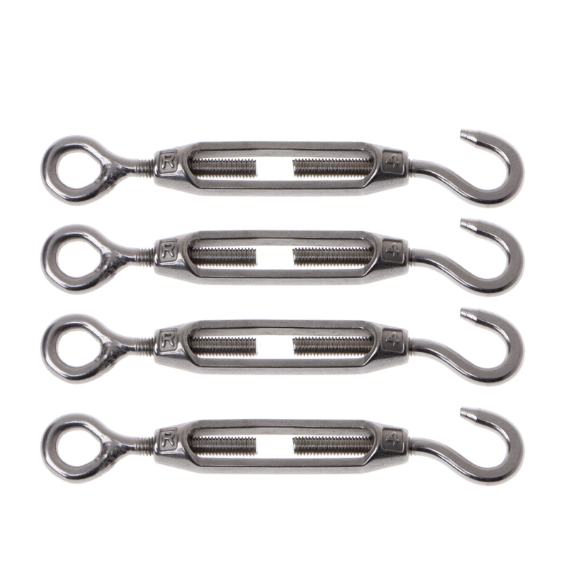 4PCS 304 Stainless Steel M4 Hook & Eye Turnbuckle Light Duty Wire Rope Tension