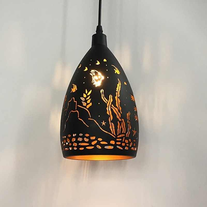 Modern LED Iron Pendant Light Metal Cage Pendant Lamp Living Room Kitchen Lights Fixture Industrial Lamp Indoor Lighting Fixture