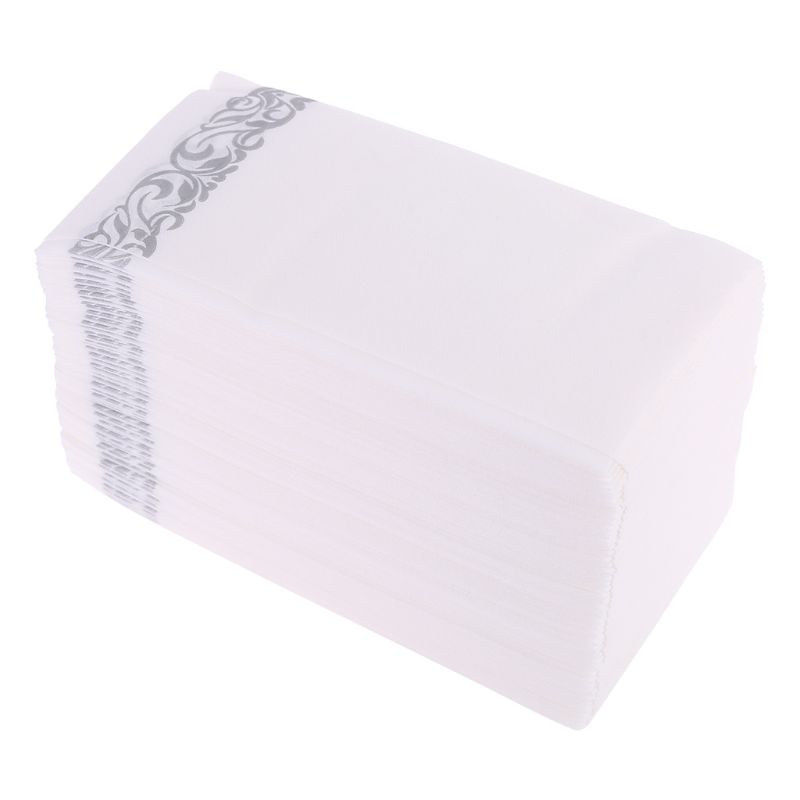 Disposable Linen-Feel Guest Towels - Decorative White Hand Towels, Silver Floral Cloth-Like Paper Napkins G6KE