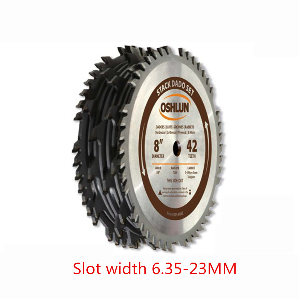 Woodworking Slotted 15.88 Aperture Alloy 8-inch DADO Saw Blade 2 Large Outer Saw Blades + 6 Small Inner Saw Blades Set Y