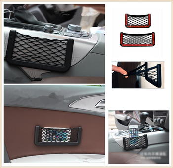 Universal Car Accessories Seat Cell Phone Debris Storage Mesh Bag for Mercedes Benz W211 W203 W204 W210 W124 AMG W202 image