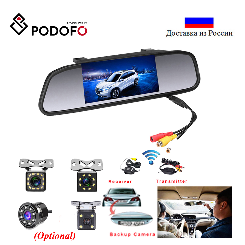 Podofo Car HD Video Auto Parking Monitor LED Night Vision Reversing CCD Car Rear View Camera With 4 3 inch Car Rearview Mirror