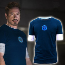 JOH FIERS Men Emitting Luminous Exclusive design100%Cotton short Sleeve t-shirt Iron Man Tshirt Homme Superhero T shirts