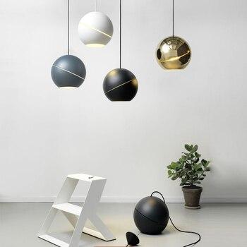 Скандинавские современные круглые шары подвесные светильники креативная круглая луна латунь Подвеска Лампы для столовой гостиной Drplight