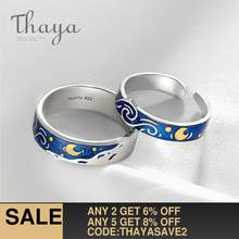 Thaya Genuine Van Gogh's Enamel Rings Jewelry 925 Silver Glitter Deer Sky Gold Moon Star Canvas Finger Ring Romantic for Women(China)