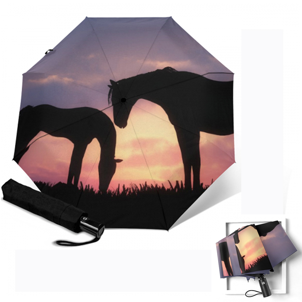Horse Printing Umbrella 3 Folding Windproof Parapluie Fully Automatic Umbrella Rain Gear Parasol for Husband Children Paraguas