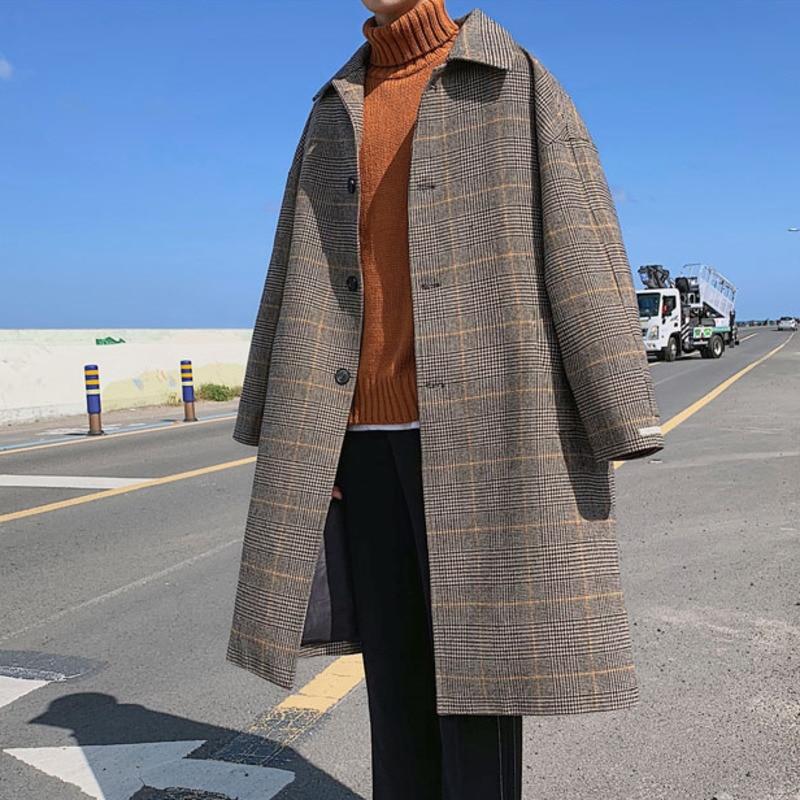 EWQ / men's wear 2020 long sleeve button plaid patchwork turn-down collar loose long coat man's korea personality jacket FS996