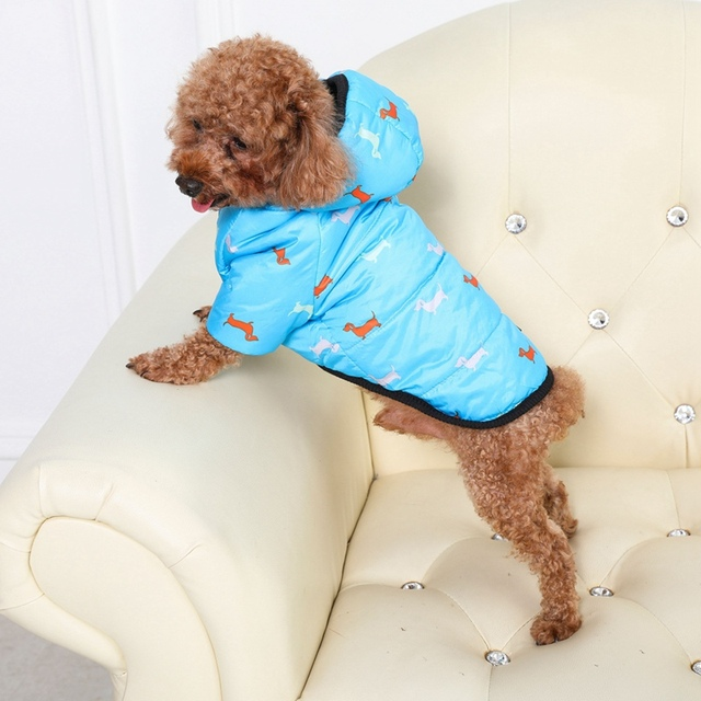Autumn Winter Clothes For Dogs Dachshund Printed Cotton Down Jacket With Leash Ring Thicken Hoodie For Small Medium Dogs Puppy 3