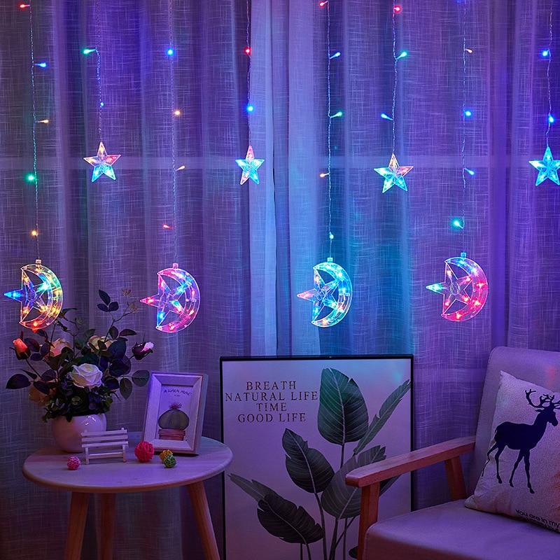 Eid Mubarak Moon Star Led String Ramadan Decoration String Lights Ramadan Kareem Islamic Party Decor Accessories
