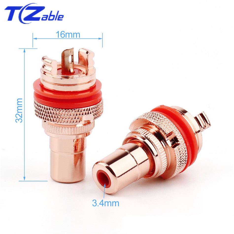 Image 4 - RCA Plug Connector Female Socket Chassis CMC Connectors Bright/Dumb Plated Copper Jack 32mm HiFi White Red Audio JacksPlug & Connectors   -
