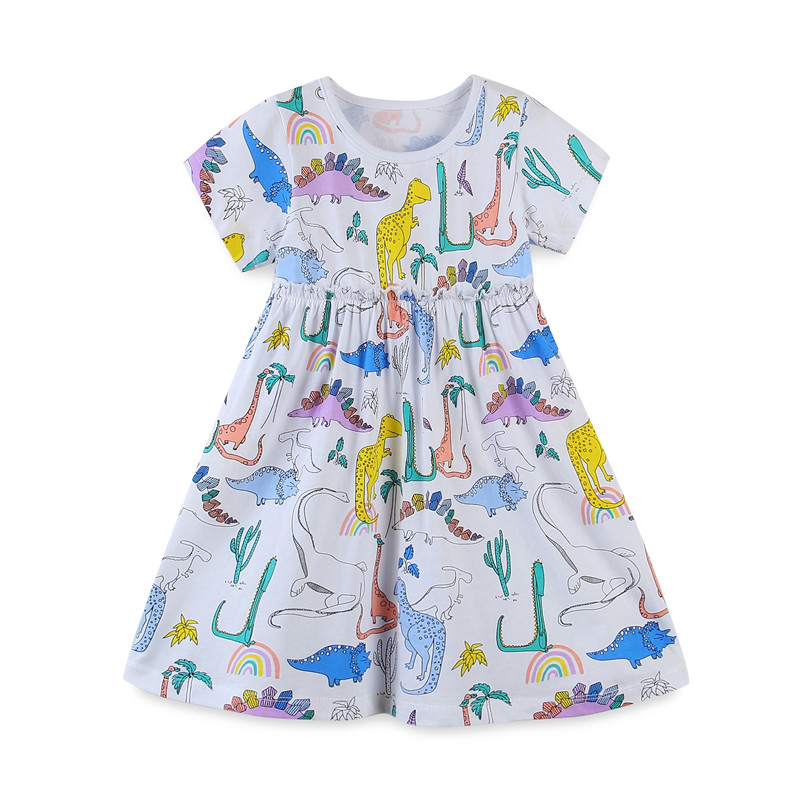 Jumping Meters Princess Girls Dresses for Summer Animals Children Cotton Clothes Dinosaurs Baby Dress Tutu Party Wear 1