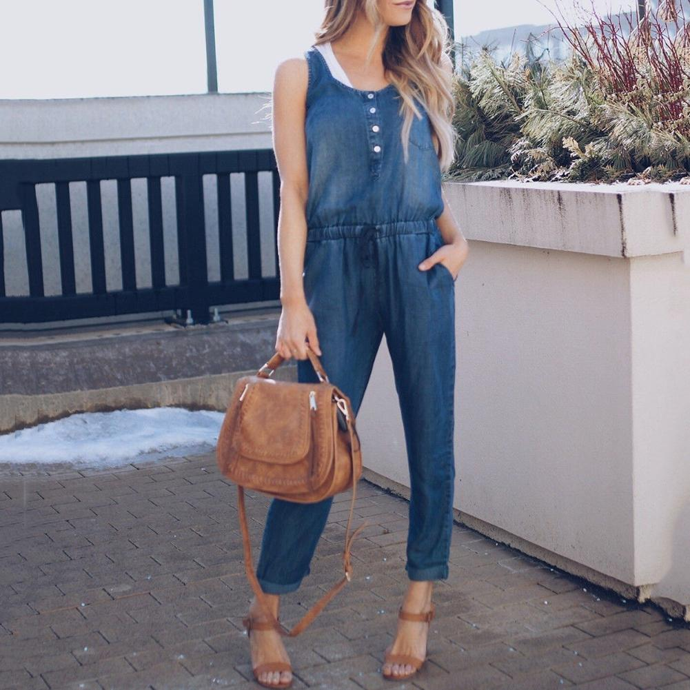 Summer Women Fashion Sleeveless Jeans Jumpsuit Denim Overalls Long Pants Rompers