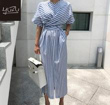 Vintage Striped Women Long Dress Cotton Blue Summer 2020 Korean Style High Split Bow Lacing Up Back Waist Bandage Loose Dresses