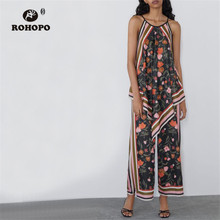 ROHOPO Woman Floral Side Striped Vintage Wide Leg Pant Iris flower Retro Full Length Trousers #2373 white random floral print side slit wide leg trousers